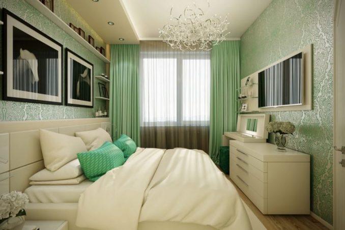 Зеленая малогабаритная спальня