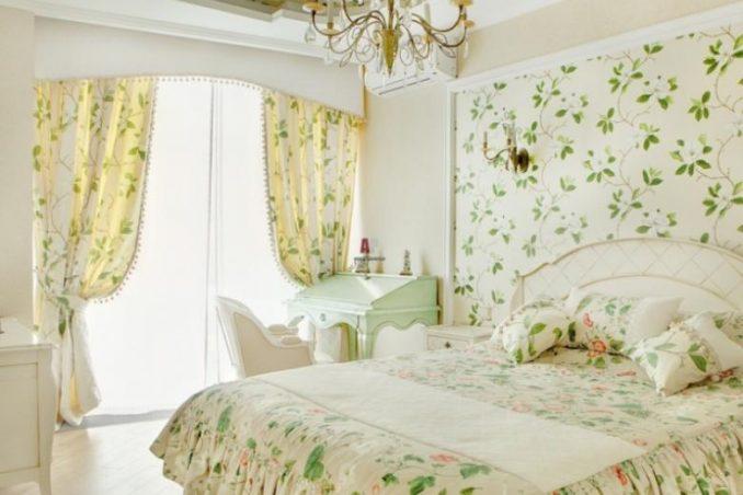 Зеленый цвет в стиле провант (спальня)