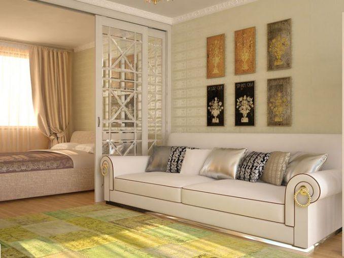 Дизайн гостиной со спальней фотографии живые
