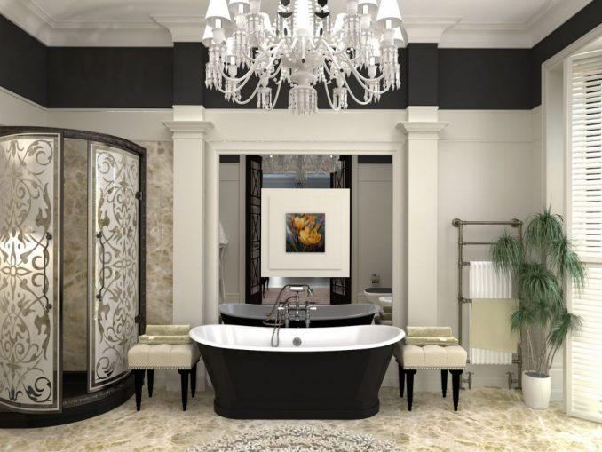 Неоклассицизм в интерьере в ванной