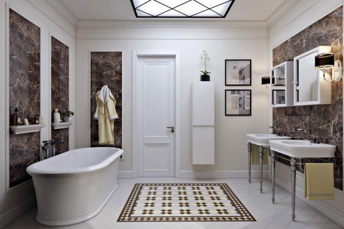 неоклассицизм в интерьере в ванной комнате