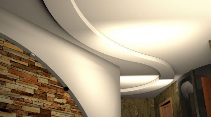 Потолки из гипсокартона с подсветкой фото для коридора