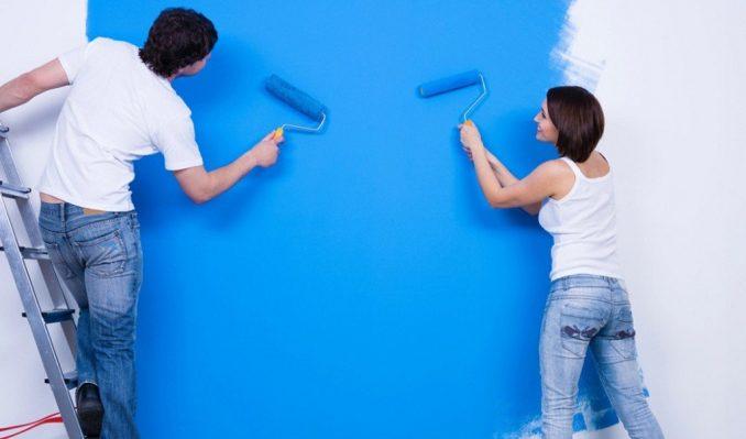 ремонт красим стену сами